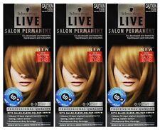 3 X Schwarzkopf Live Salon Permanent Hair Colour 8-0 Medium Blonde