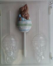 BUNNY IN EGG LOLLIPOP CLEAR PLASTIC CHOCOLATE CANDY MOLD E011