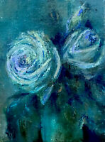 Original Oil Painting One Of A Kind  Moonlight Roses Canvas Board 5@7