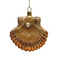 Brown and Copper Seashell with Pearl Polish Glass Christmas Ornament Sea Shell