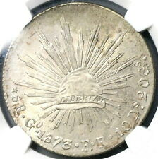 1873-Go NGC MS 61 Mexico 8 Reales Mint State Guanajuato Silver Coin (19060301C)