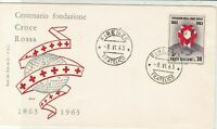Italy 1963 Centenary of Red Cross Foundation Firenze  FDC Stamp Cover ref 22419