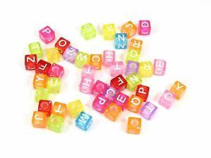 250 Color Transparent white inside Acrylic Alphabet Letter Cube Pony Beads 6X6mm