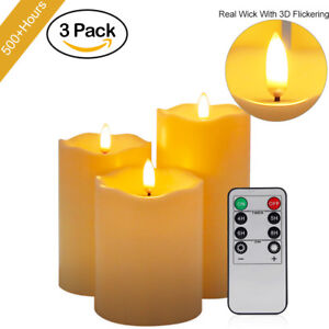 3/6/9x LED Candle Lights Flameless Wick Home Party Decor w/ Timer Remote Control