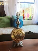Vtg Mid Century modern eames era retro Amber Glass Globe Table desk Lamp brass
