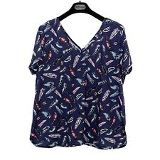 TU Feather Print V Neck Front & Back Short Sleeves T Shirt Top Summer Holiday 20