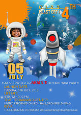 8 x Personalised Birthday party invitations or Thank you card Space Rocket Ship