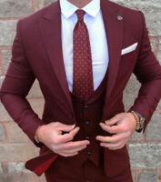 Burgundy Men Groom Tuxedos Suit Business Dinner Party Formal Wedding Prom Suit