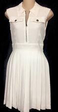 Miu Miu Dress White Pleated Skirt  Sleeveless Size 2 Size 36