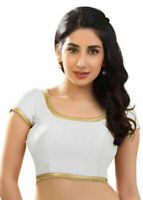 Indian Ready Made Silk Saree Blouse White Choli Blouse Wedding Party Wear Tops