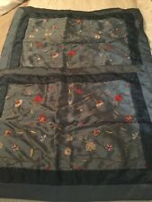 Pillow Shams Blue Satin Like With Flowers 2 Standard And 2 Euro Shams Preowned