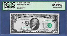 1974 $10 ERROR  ♚♚MISALIGNED OVERPRINT♚♚  PCGS GEM NEW 65 PPQ