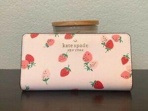 Kate Spade Staci Large Slim Bifold Wallet Wild Strawberries