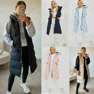 Womens Hooded Quilted Zip Up Gilet Waistcoat Padded Vest Winter Long Bodywarmer