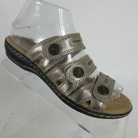 Clarks Collection Leisa Lakia Pewter Leather 3 Strap Slide Sandal Womens Sz 6.5