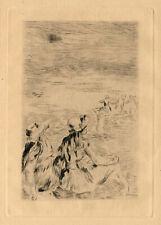 PIERRE AUGUSTE RENOIR, 'SUR LA PLAGE, A BERNEVAL', original etching, c. 1892.