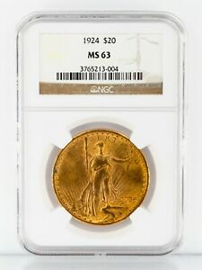 1924 Gold St. Gaudens Double Eagle Graded by NGC as MS-63