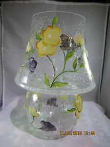 Butterfly, Floral  and Crackle glass Tea light burner with shade