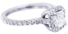 GIA H-VS2 14k White Gold Cushion Cut Diamond Engagement Ring Deco Halo 1.30ctw
