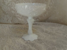 "VINTAGE FENTON WHITE MILK GLASS CABBAGE ROSE COMPOTE 7 1/2 "" HIGH"