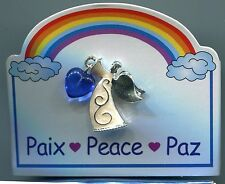 Angel of Peace  with Rainbow   pin ,Blue Hart