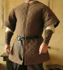 New Medieval Thick Brown viking Gambeson Padded Short Sleeve