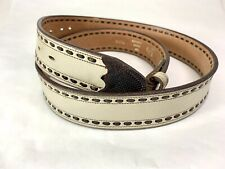 Vintage 70s Justin Exotic Snake Tip Western Tan Buckstitch Leather Belt Size 38