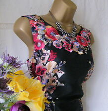 """******MONSOON PRE-OWNED """"PANSY BLACK"""" DRESS SIZE 14 & MATCHING CLUTCH BAG******"""