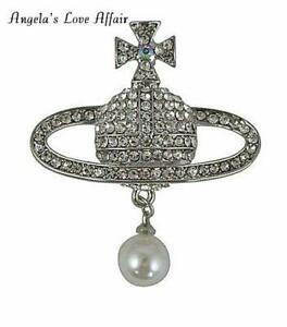 GORGEOUS SILVER CRYSTAL FAUX PEARL ORB PLANET SATURN CROSS BROOCH PIN CHRISTMAS