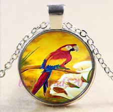 Parrot Photo Cabochon Glass Tibet Silver Chain Pendant Necklace