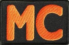 MC Logo Orange on Black Biker Club Embroidered Iron On Patch SOA