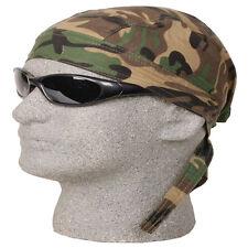 WOODLAND GREEN CAMO CAMOUFLAGE FITTED TIED BANDANA Doo Do Rag Skull Cap Head