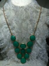 "Green Statement Necklace Gold Tone  18"" Chain  Quality Plastic Claw Clasp"