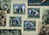 Central Africa - 2014 Gorillas on Stamps - 4 Stamp Sheet - 3H-715