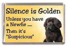 "Newfoundland Dog Fridge Magnet ""Silence is Golden ....."" by Starprint"