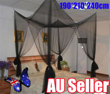 Black 4 Post Corner Bed Canopy Mosquito Net Netting Full Queen King Size Bed BO