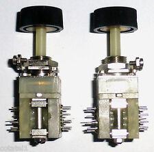 2 mini-commutateurs 2x8 positions contacts argentés avec son bouton NOS NIB USA