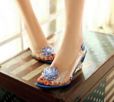 Fashion Transparent Floral Crystal Wedge Heel Pumps Womens Sandals Shoes Sizes