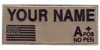 US Flag & Blood Type Embroidered Name / Text Tag Patch -sand-