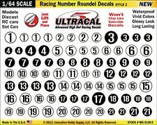MG-6100-2 1/64 High Def UltraCal Racing Decals Number Roundel Decals Style 2