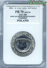 Poland 2008 silver 10 zl 400 Years of Polish Settlement in North America PR70