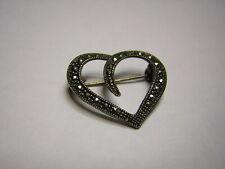 Sterling /.925 ... Heart w/ Marcastes ... Pin / Brooch