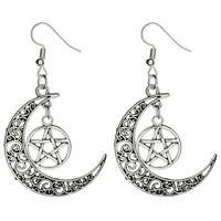 Moon Pentagram Earrings Tibetan Silver 1 Pair Wicca Pagan