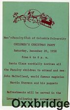 John Mulholland 1958 Magic Show Invite Martin Stevens Puppets Columbia Univ
