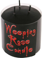 Weeping Rose Small Black Pillar Candle 3 Wick 7cm Samhain Pagan Gothic Gift