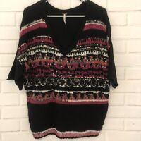 Free People Anthropologie V-Neck Sequin Tunic Sweater Black Short Sleeve Small