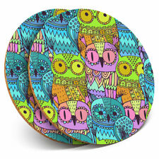 2 x Coasters - Colorful Owls Bird Art Wise Owl Home Gift #13213