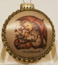 M.J. Hummel Silk Picture Glass Christmas Ball (2001, H296 Umbrella Girl)