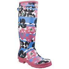 Hunter Original Tall Floral Stripe Womens Wellington Boots Waterproof Wellies