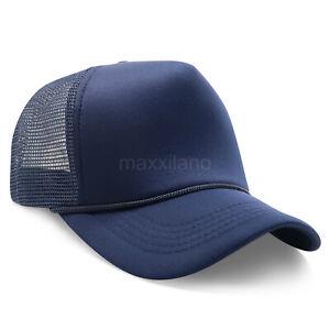 Trucker Hat Foam Mesh Snapback Adjustable Baseball Cap Solid Blank Curved Men